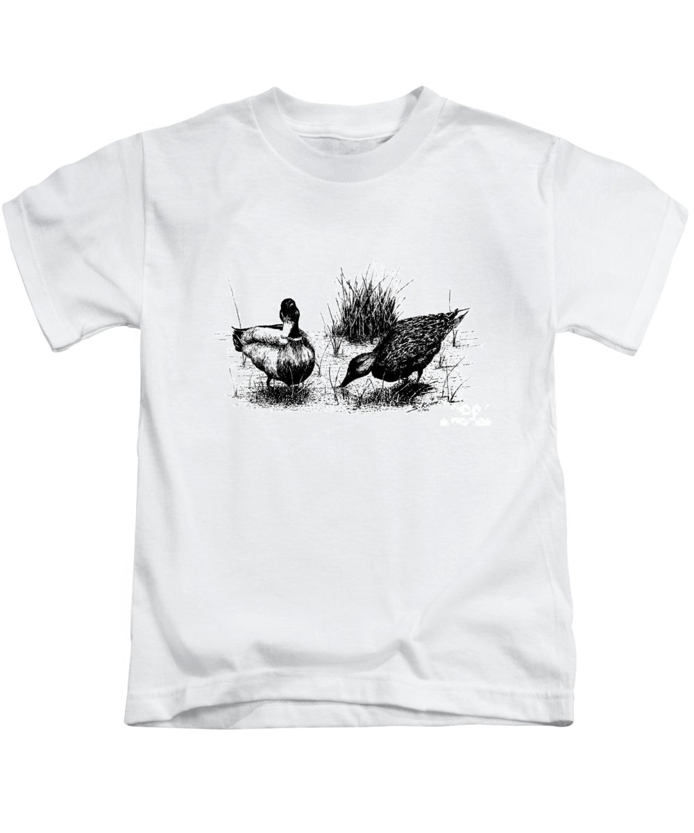Landscape Kids T-Shirt featuring the drawing Mallards In The Marsh by Steve Knapp