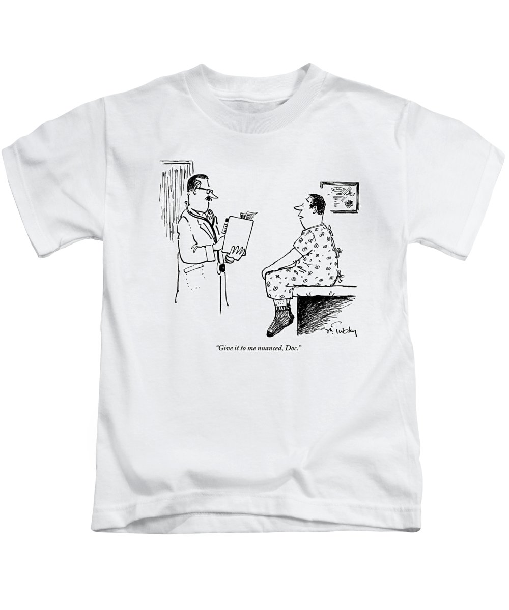 Man In Hospital Gown Sitting On Exam Table Says Kids T-Shirt for ...
