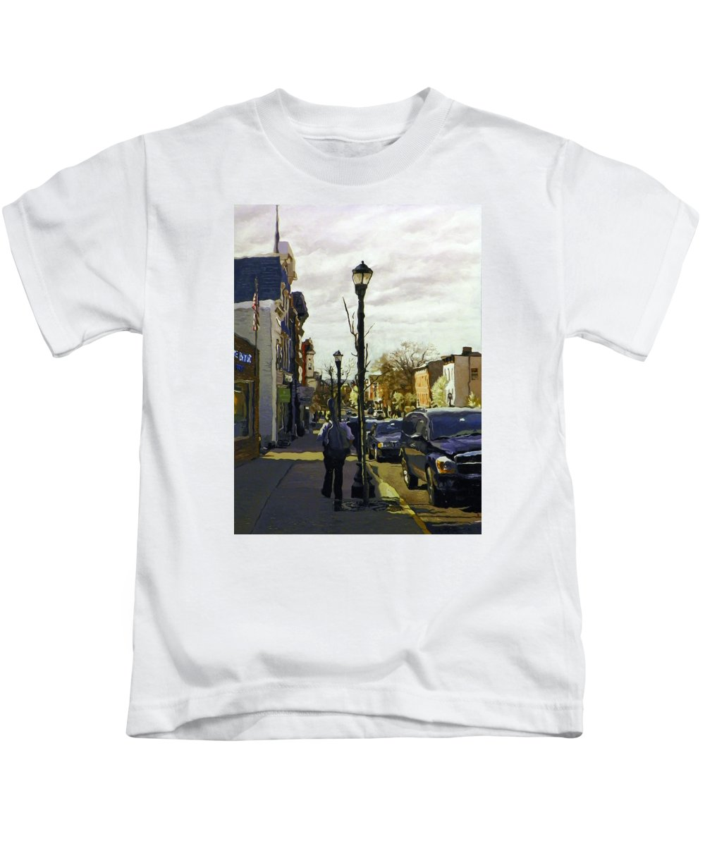 Music Kids T-Shirt featuring the painting Man With Guitar On Warren by Kenneth Young