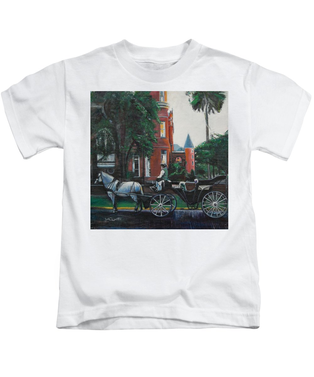 Kids T-Shirt featuring the painting Mansion On Forsythe Savannah Georgia by Jude Darrien