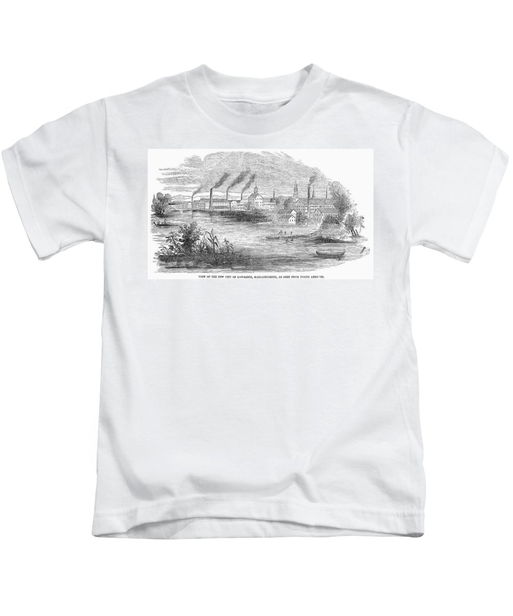 19th Century Kids T-Shirt featuring the painting Massachusetts Lawrence by Granger