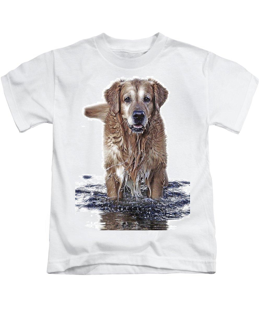 Dog Kids T-Shirt featuring the photograph Master Of Wet Elements by Joachim G Pinkawa