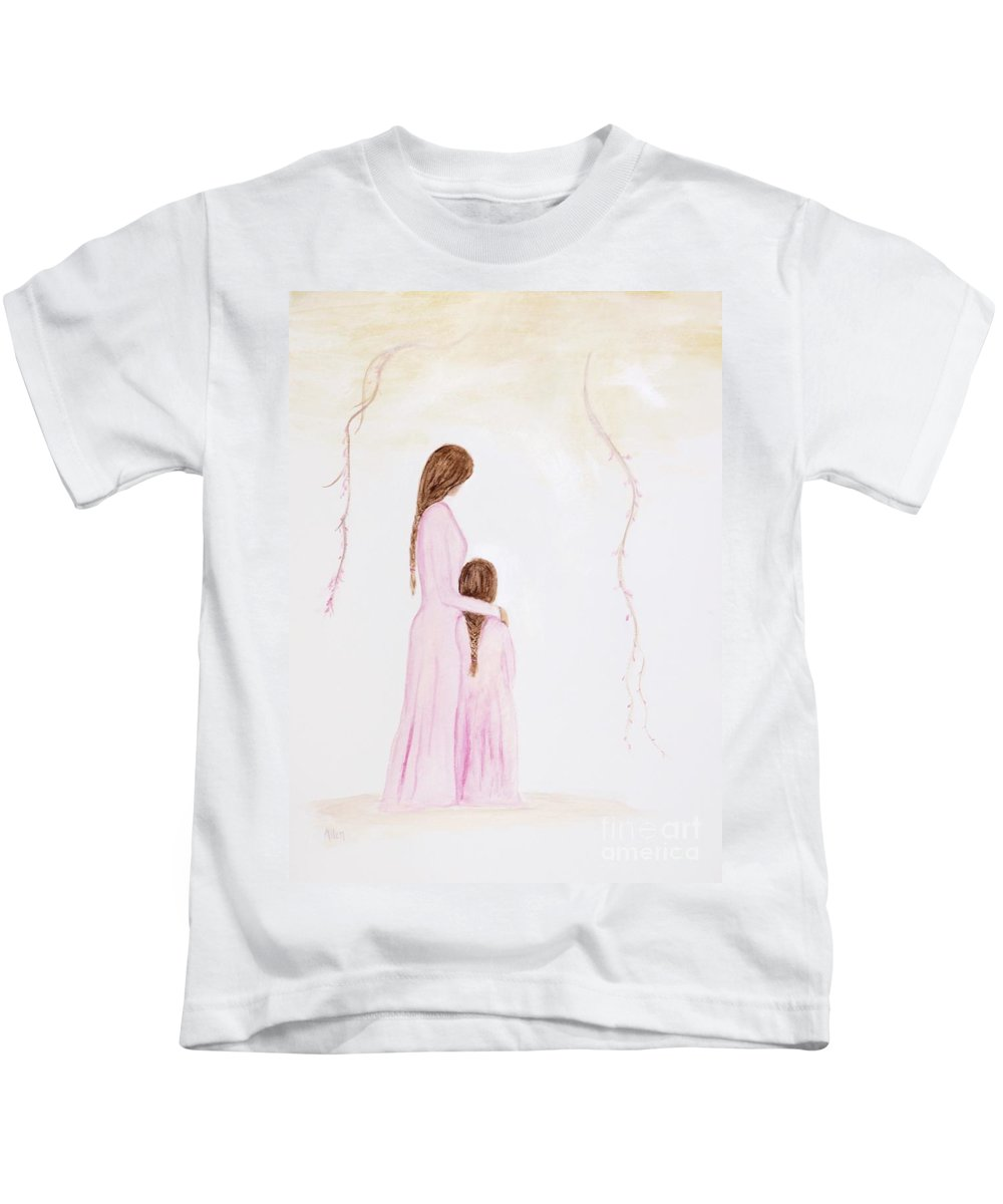 Mother Art Kids T-Shirt featuring the painting Matching Pajamas by Leslie Allen