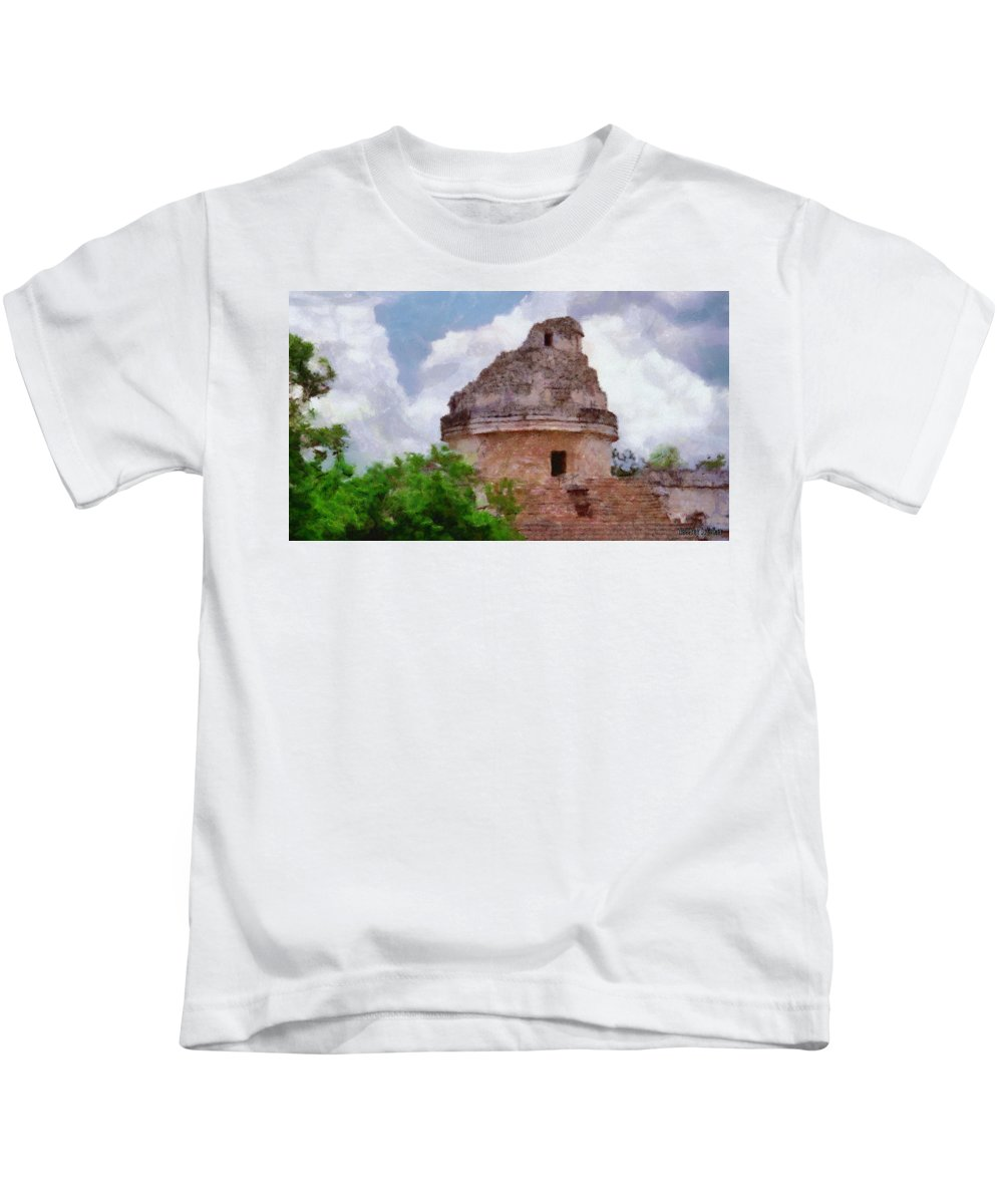 Yucatan Kids T-Shirt featuring the painting Mayan Observatory by Jeffrey Kolker