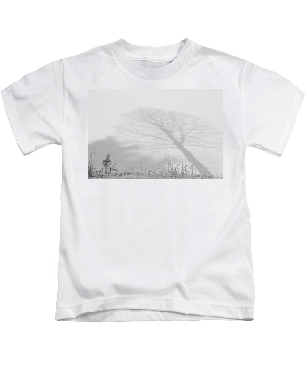 Winter Kids T-Shirt featuring the photograph Me And My Shadow Black And White by James BO Insogna