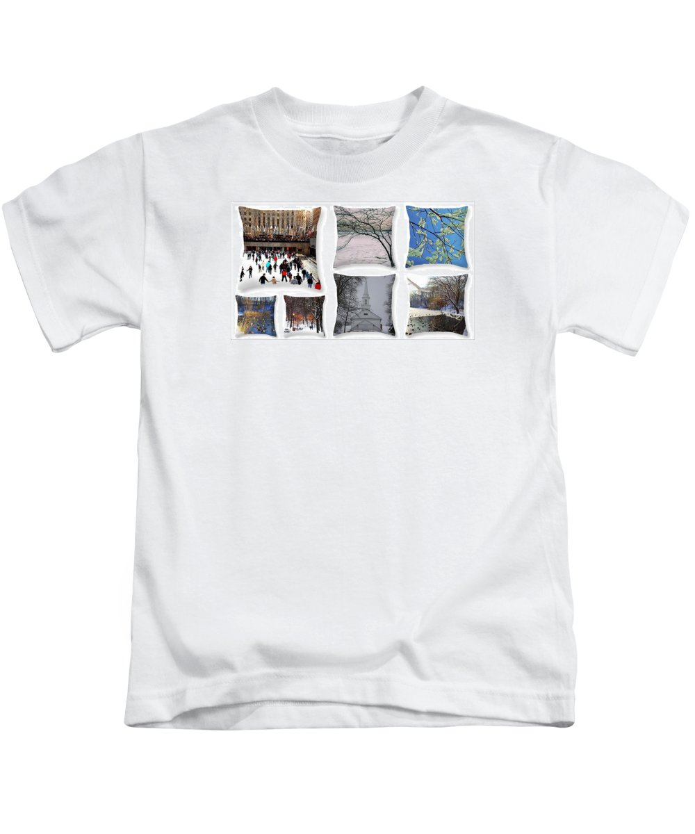 Winter Kids T-Shirt featuring the photograph Memories Of Winter - A Collage by Dora Sofia Caputo Photographic Design and Fine Art