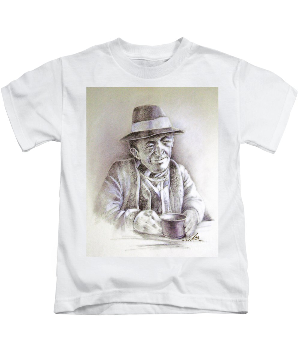 Portrait Michael Anderson Kids T-Shirt featuring the painting Michael J Anderson by Miki De Goodaboom