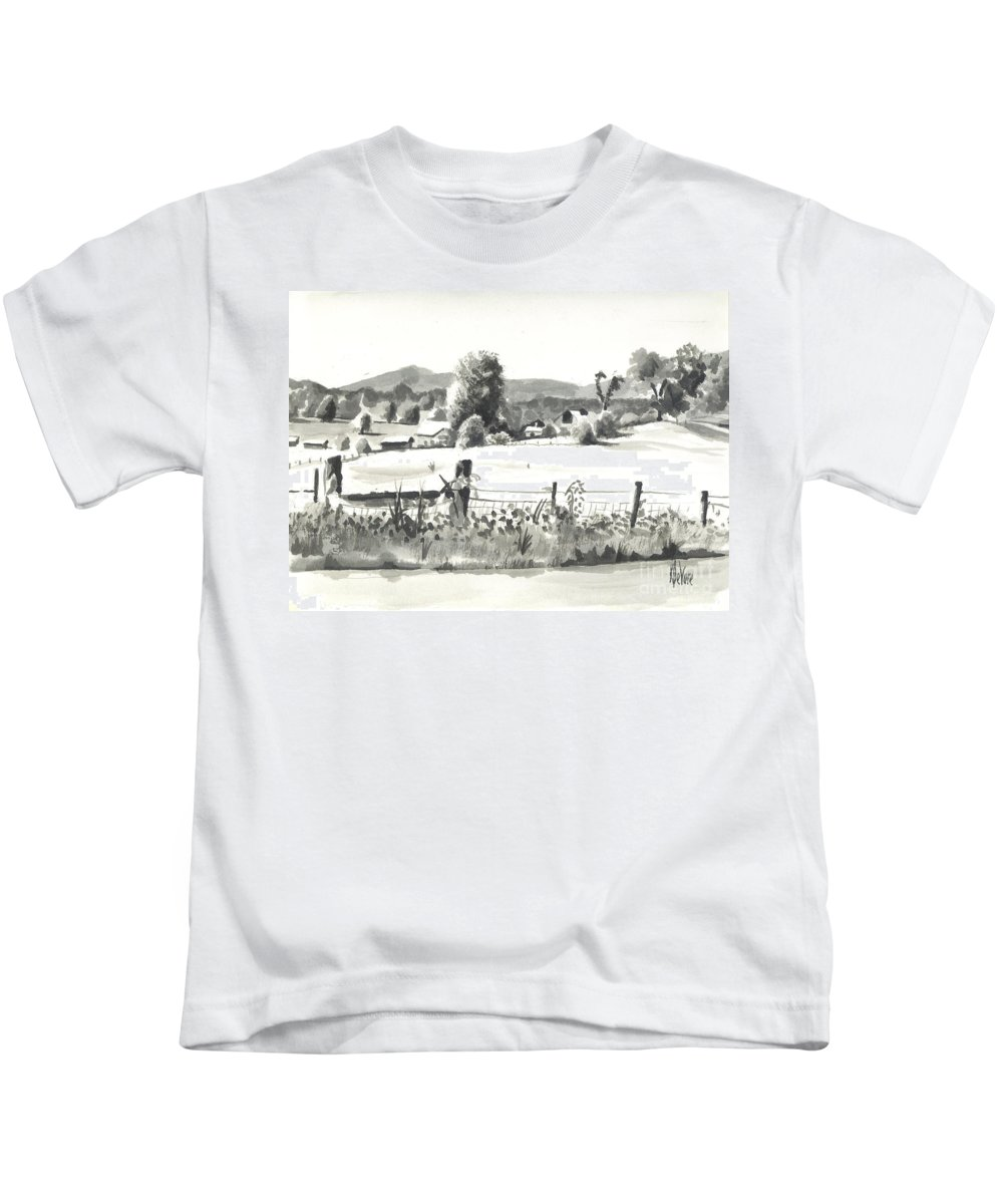 Midsummer View Out Route Jj  No I101 Kids T-Shirt featuring the painting Midsummer View Out Route Jj  No I101 by Kip DeVore