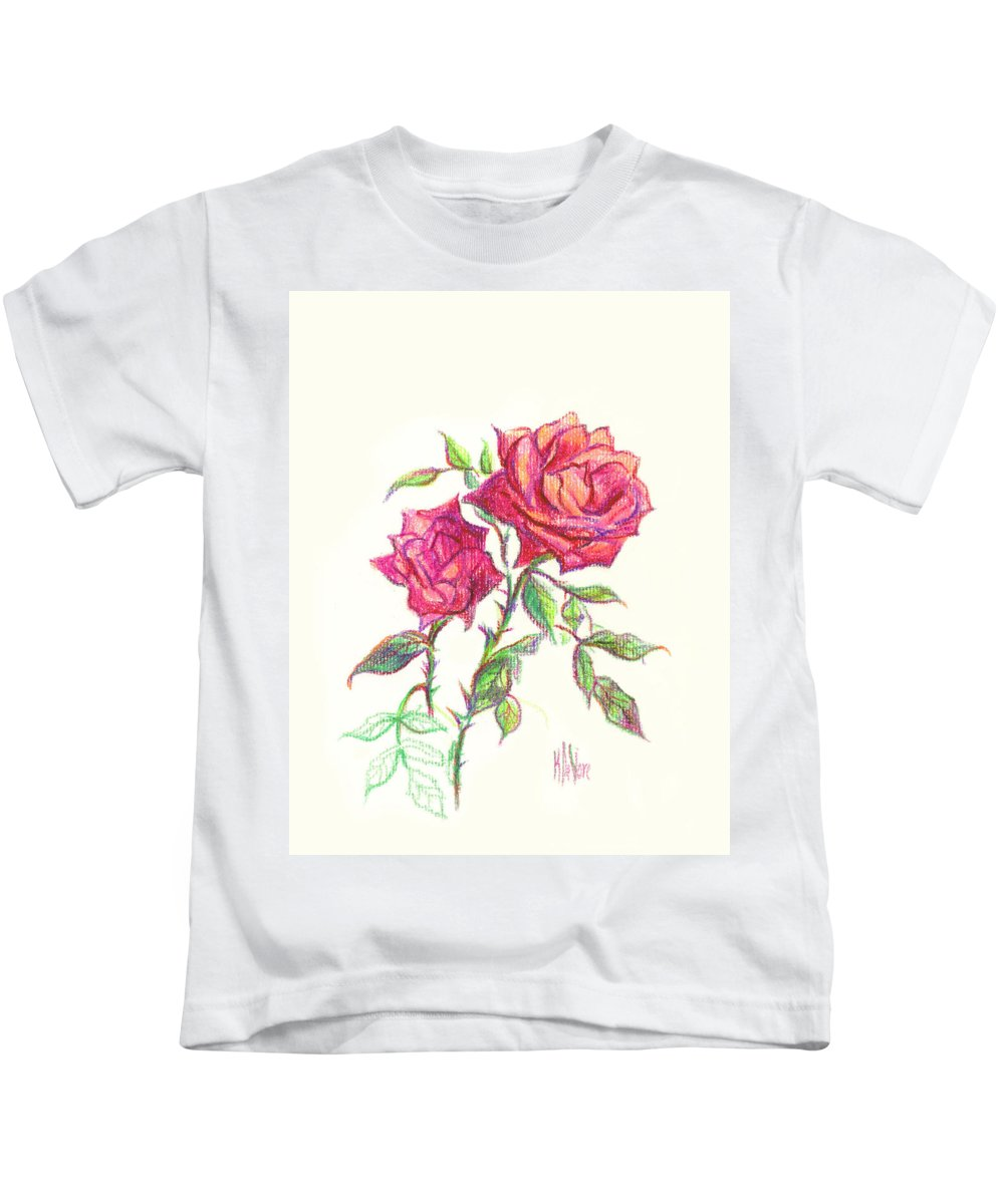 Nature Kids T-Shirt featuring the painting Minature Red Rose by Kip DeVore