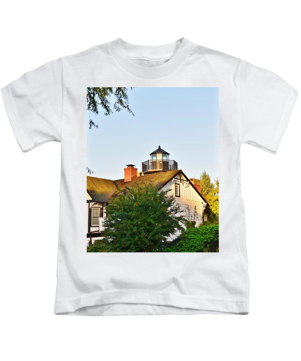 Lighthouse Kids T-Shirt featuring the photograph Mispillion Lighthouse - Lewes Delaware by Kim Bemis
