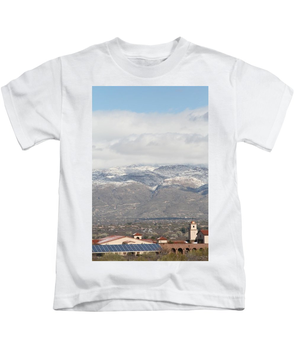 Mission Kids T-Shirt featuring the photograph Mission In Winter by David S Reynolds