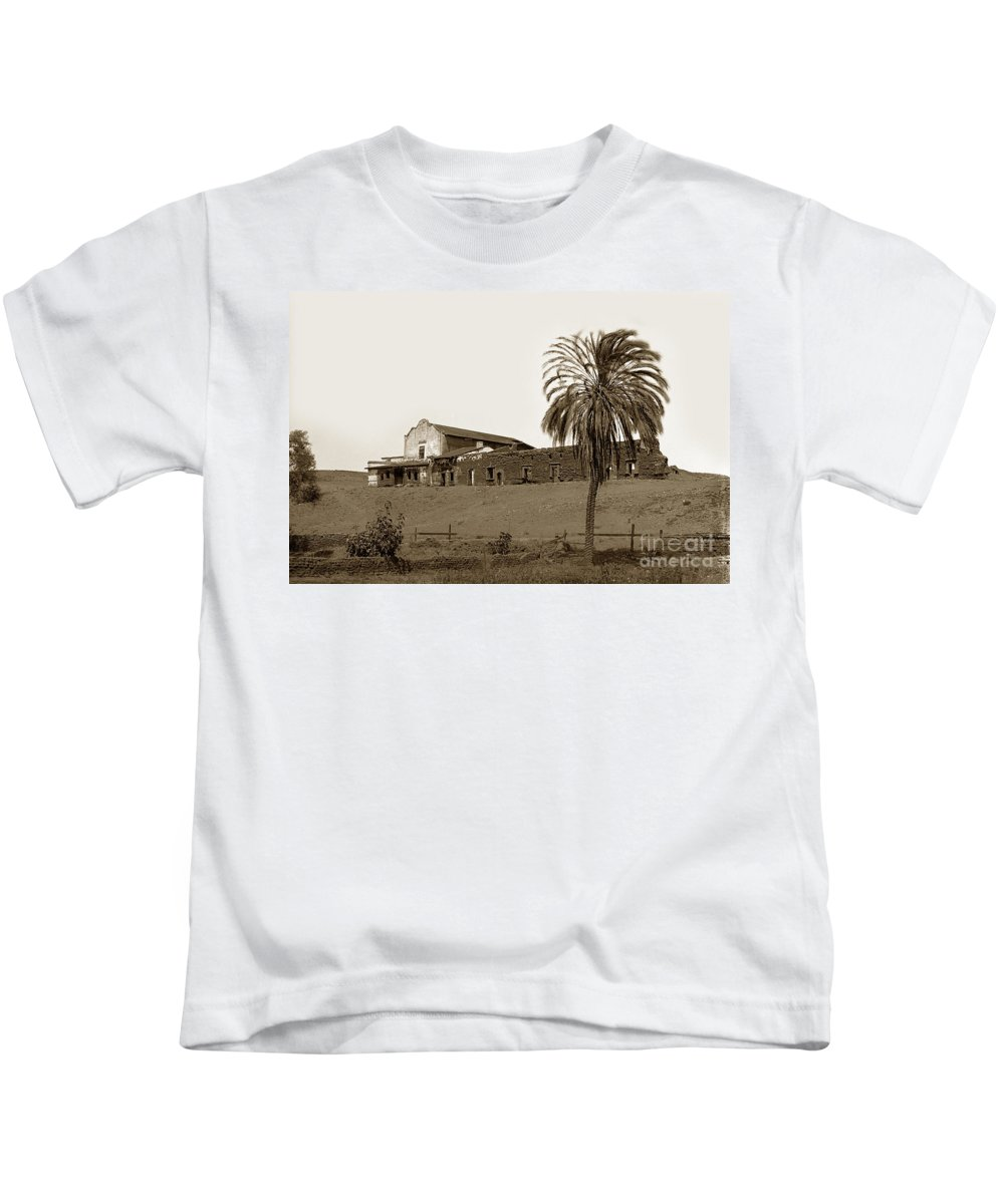 Mission Kids T-Shirt featuring the photograph Mission San Diego De Alcala California Circa 1890 5x8 Glass Neg. by California Views Mr Pat Hathaway Archives