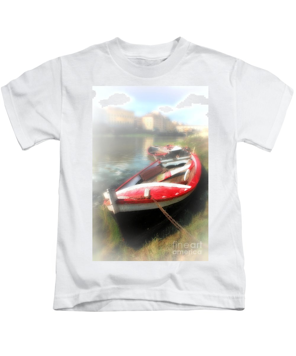Florence - Italy Kids T-Shirt featuring the photograph Mist On The Arno by Mike Nellums