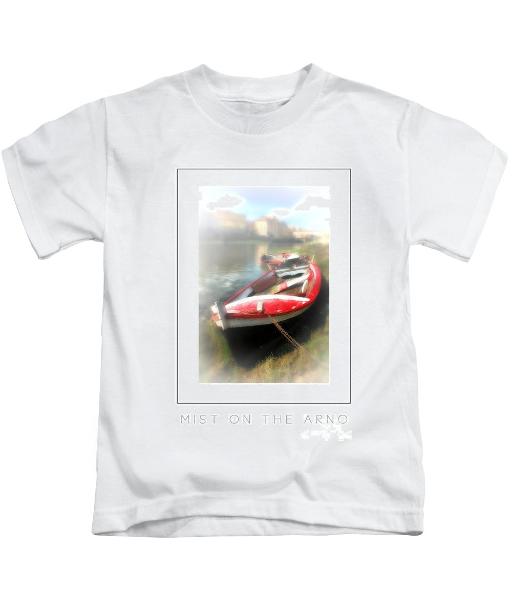 Florence - Italy Kids T-Shirt featuring the photograph Mist On The Arno Poster by Mike Nellums