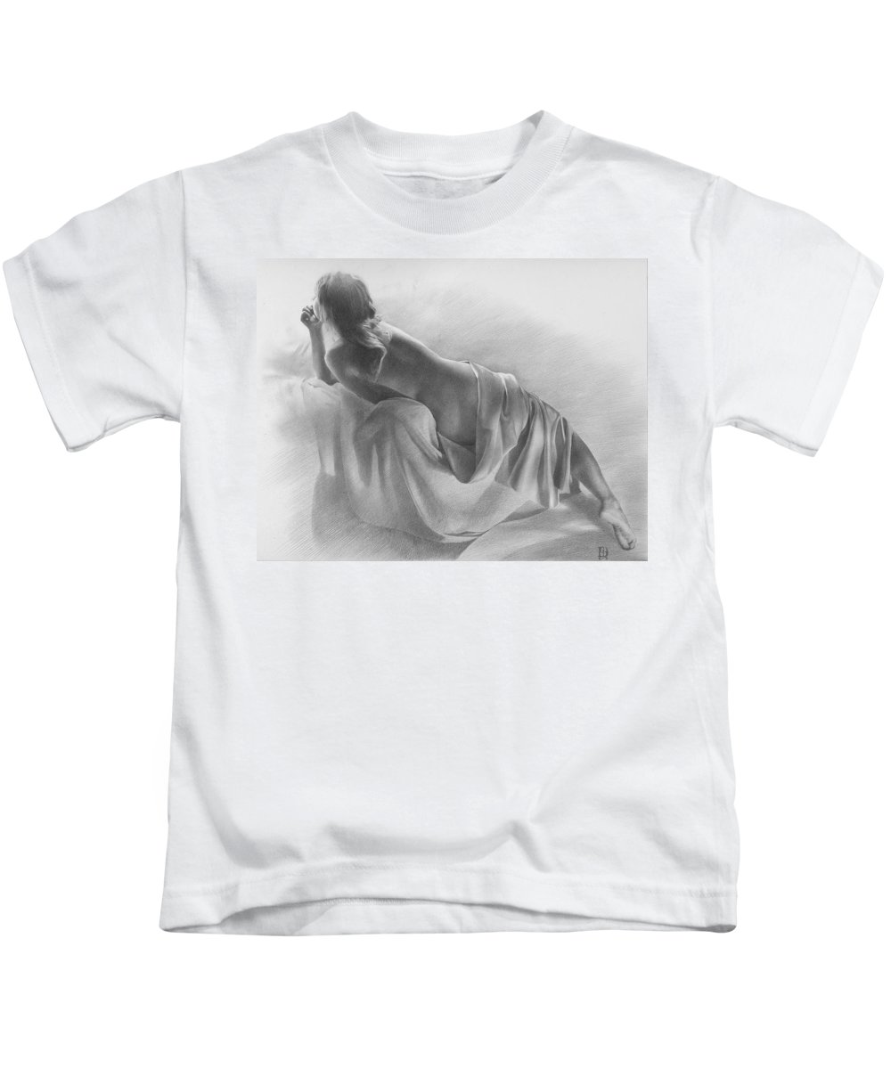 Kids T-Shirt featuring the drawing Model In Drapery 2003 by Denis Chernov