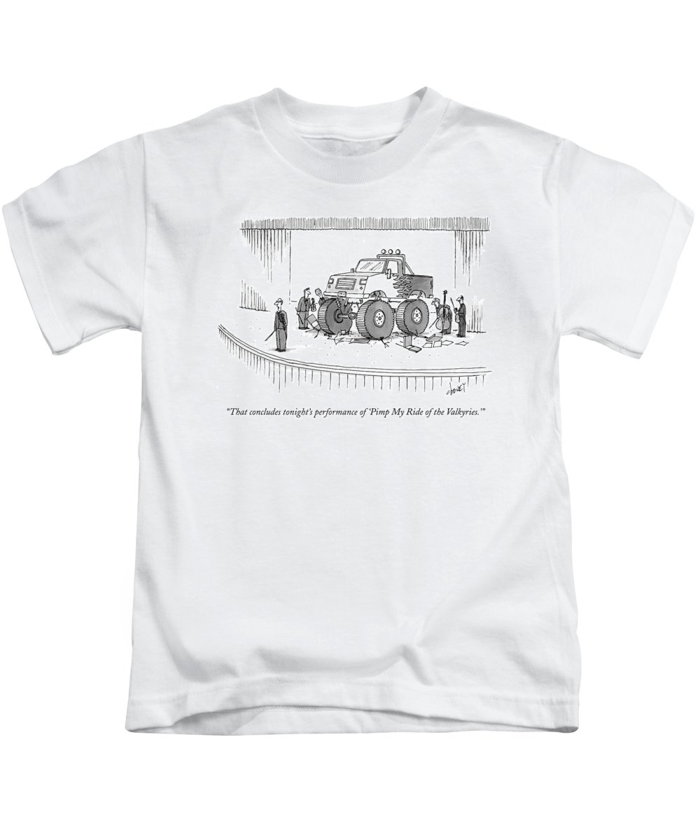 Autos Problems Entertainment Music Tch Tom Cheney Kids T-Shirt featuring the drawing Monster-truck Crushes Members Of String Octet by Tom Cheney