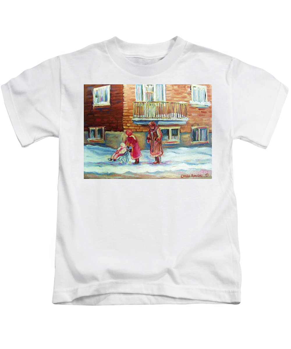 Montreal Kids T-Shirt featuring the painting Montreal Winter Scenes by Carole Spandau