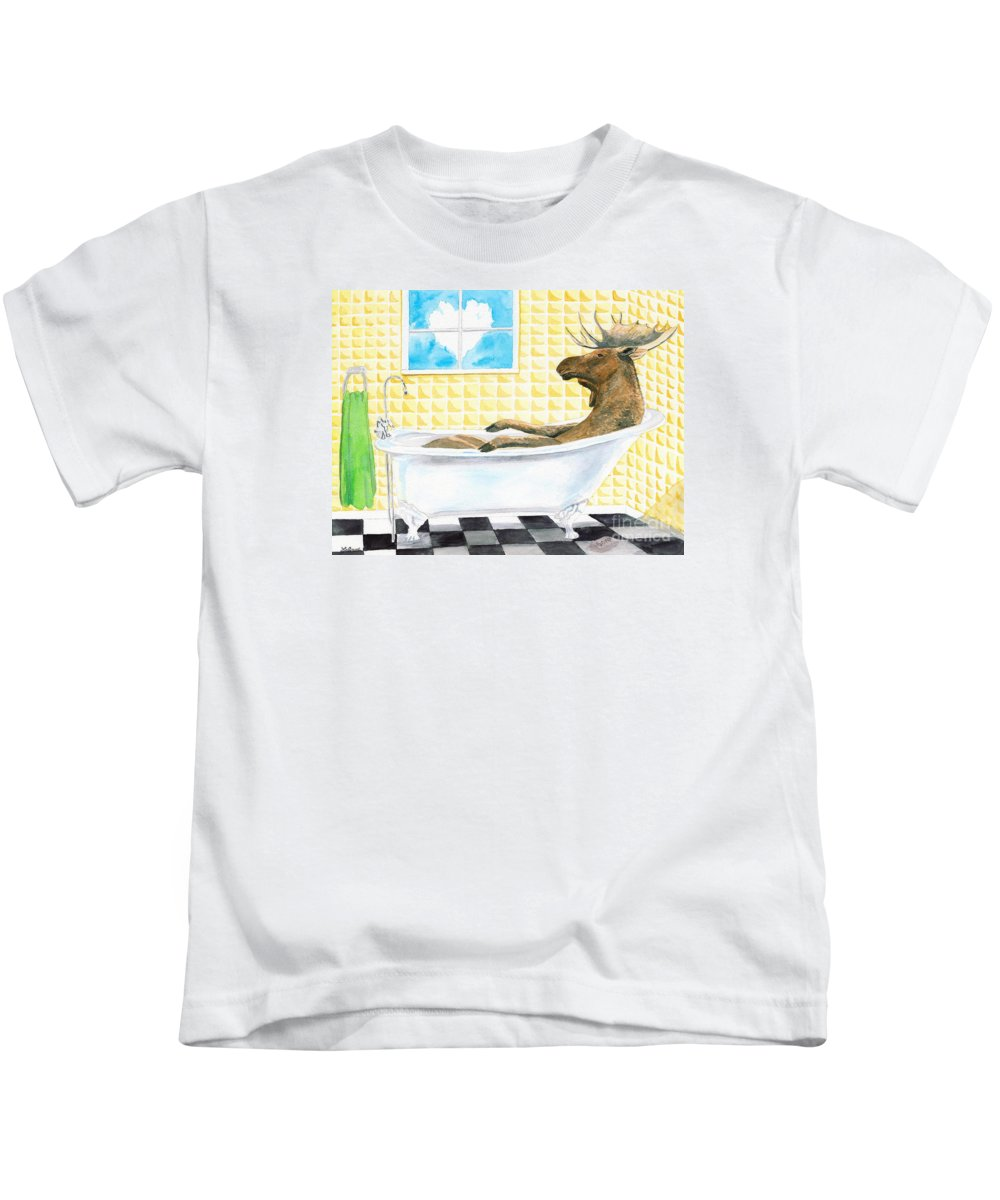 Moose Kids T-Shirt featuring the painting Moose Bath by LeAnne Sowa
