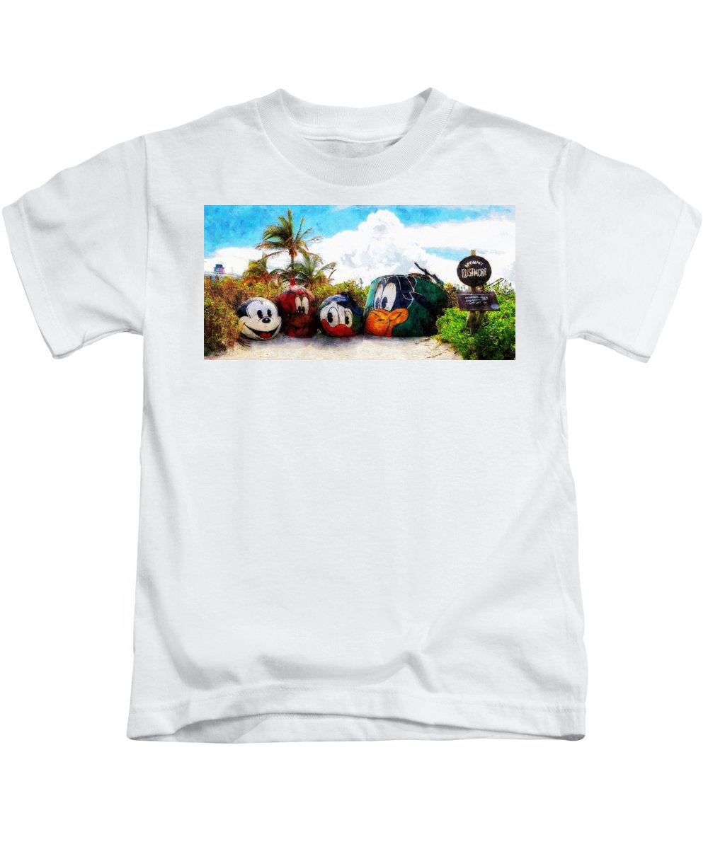 Disney Kids T-Shirt featuring the painting Mount Rustmore Castaway Cay by Sandy MacGowan