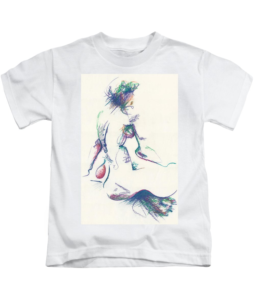 Mountain Dew Nude Kids T-Shirt featuring the drawing Mountain Dew Nude by Melinda Dare Benfield