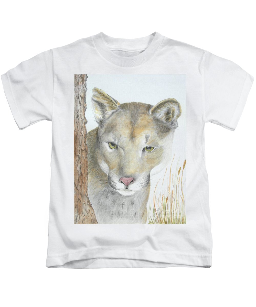 Nature Prints Kids T-Shirt featuring the painting Mountain Hunter by Joette Snyder