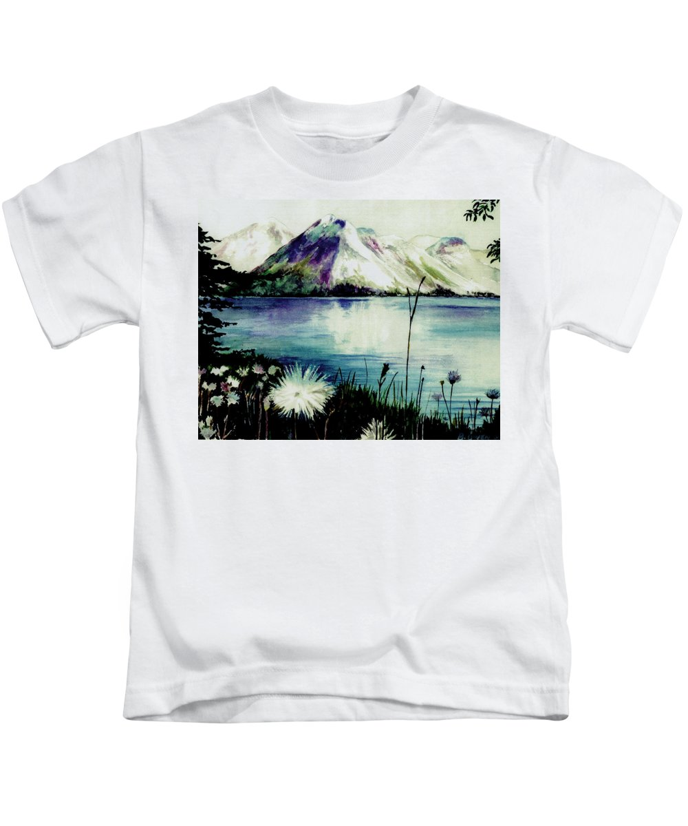 Landscape Kids T-Shirt featuring the painting Mountain Serenity by Brenda Owen
