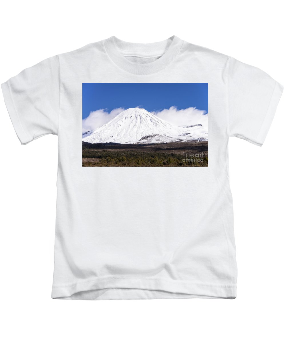 Mount Ngauruhoe Tongariro National Park New Zealand Mountain Mountains Volcano Volcanos Landscape Landscapes Snow Snowscape Snowscapes Kids T-Shirt featuring the photograph Mt. Ngauruhoe by Bob Phillips
