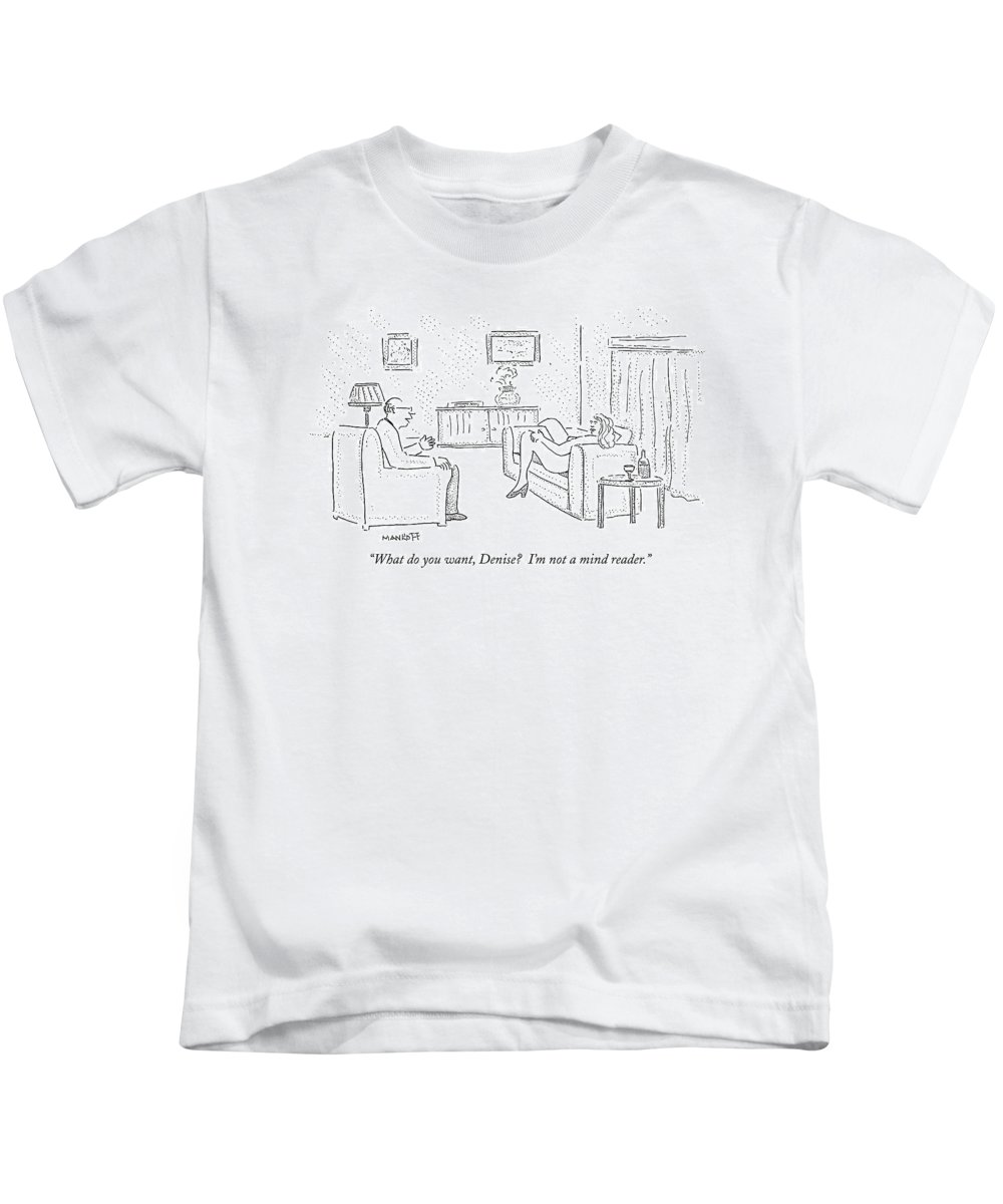 Sex Kids T-Shirt featuring the drawing Naked Woman Lying On Couch With Legs Spread by Robert Mankoff