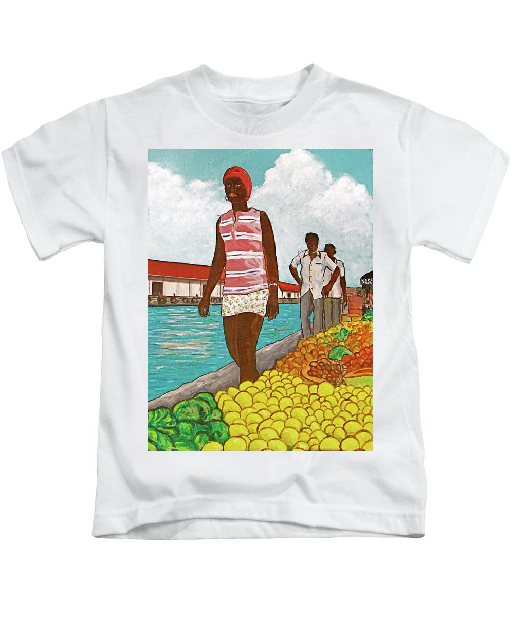 Bahamas Yellow Lemons Cabbage Tall Black Girl Nassau Two Men Waterfront Red Roof Kids T-Shirt featuring the painting Nassau Woman by Frank Hunter