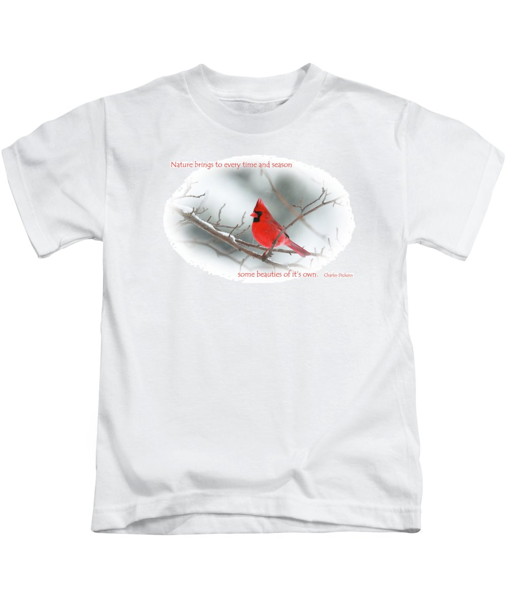 Red Cardinal Kids T-Shirt featuring the photograph Nature Brings by Karol Livote