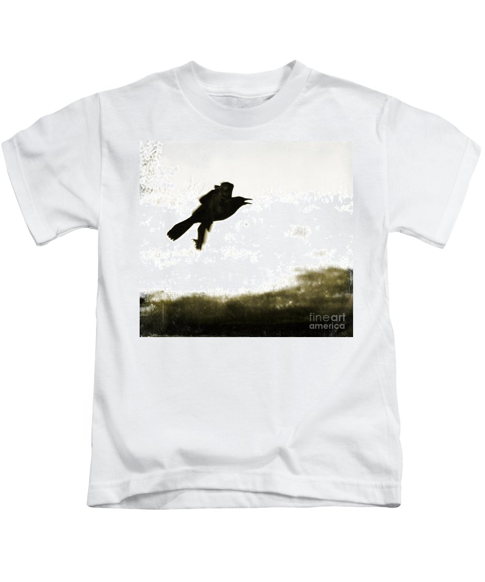 Birds Kids T-Shirt featuring the photograph Nevermore by Roselynne Broussard