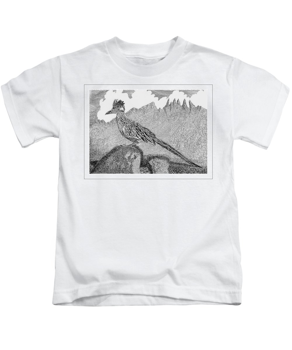 Organ Mountains-desert Peaks National Monument Kids T-Shirt featuring the drawing New Mexico Roadrunner by Jack Pumphrey