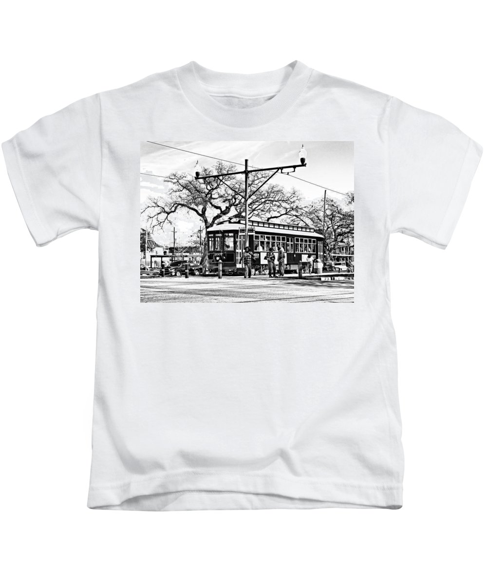 New Orleans Kids T-Shirt featuring the photograph New Orleans Streetcar Silhouette by Steve Harrington