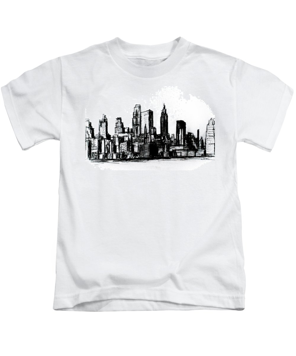 Nyc Kids T-Shirt featuring the drawing New York City by Paul Sutcliffe