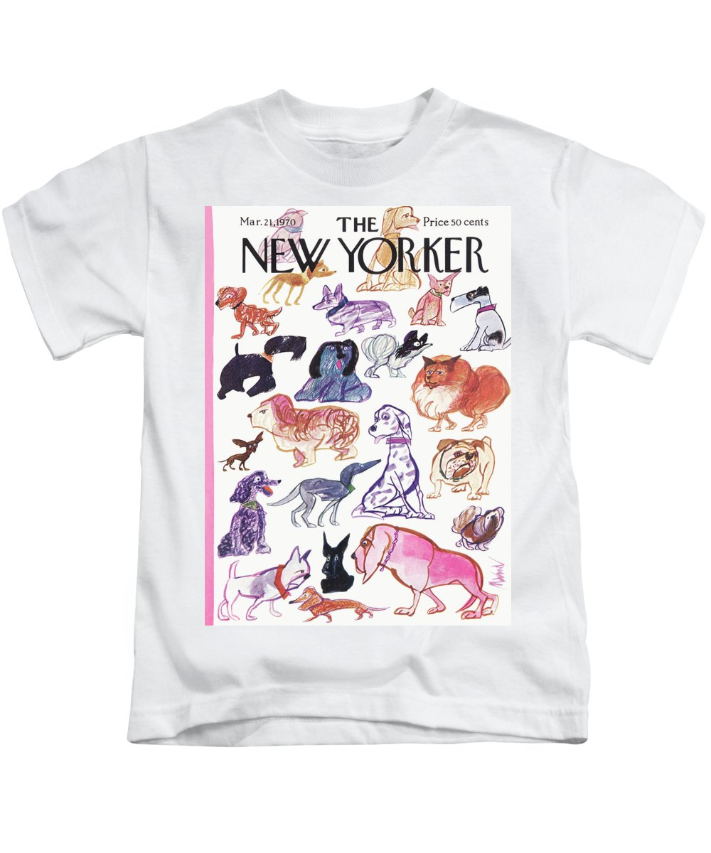 Animals Kids T-Shirt featuring the painting New Yorker March 21st, 1970 by Kenneth Mahood