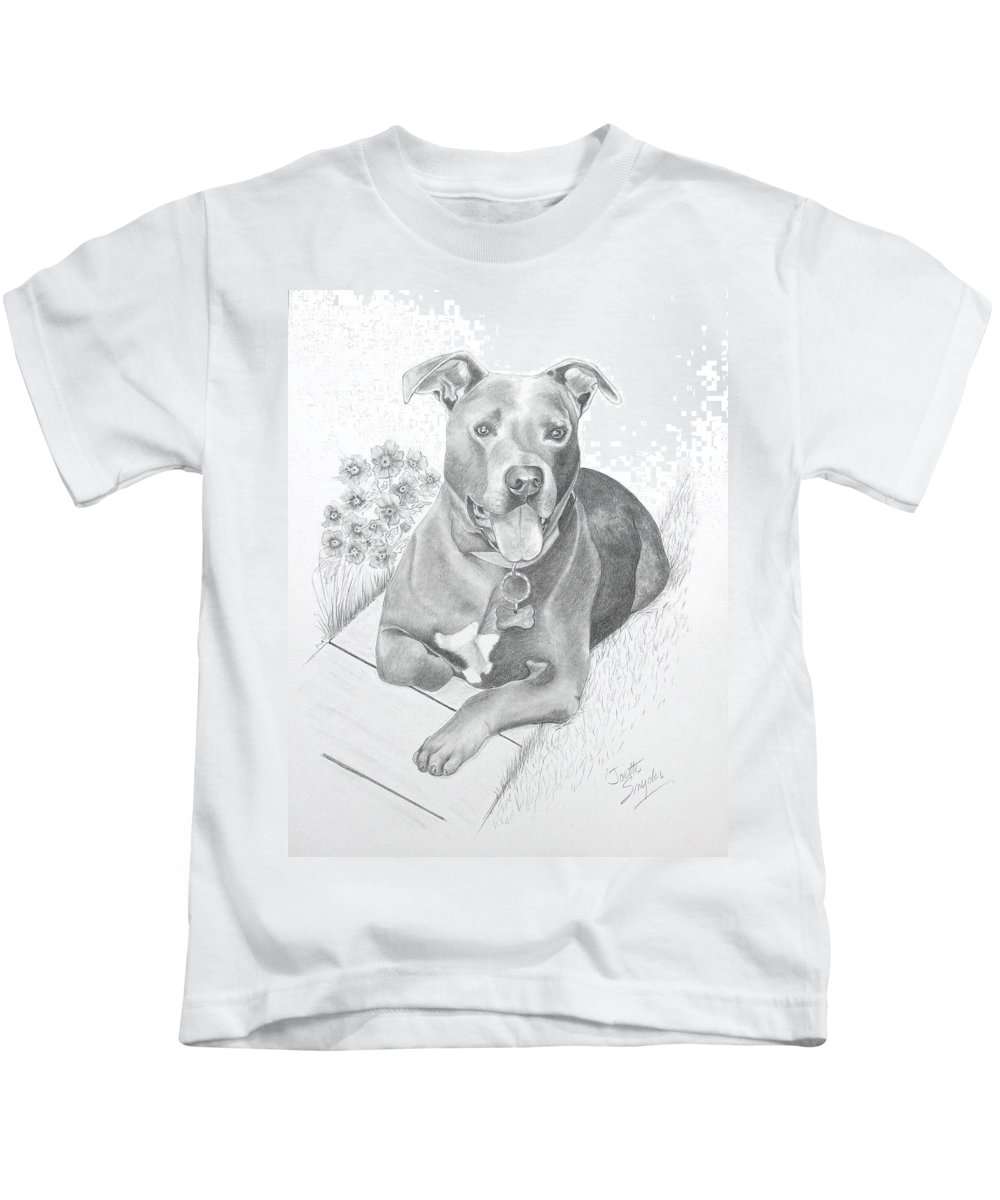 Pet Portrait Kids T-Shirt featuring the drawing Newman by Joette Snyder