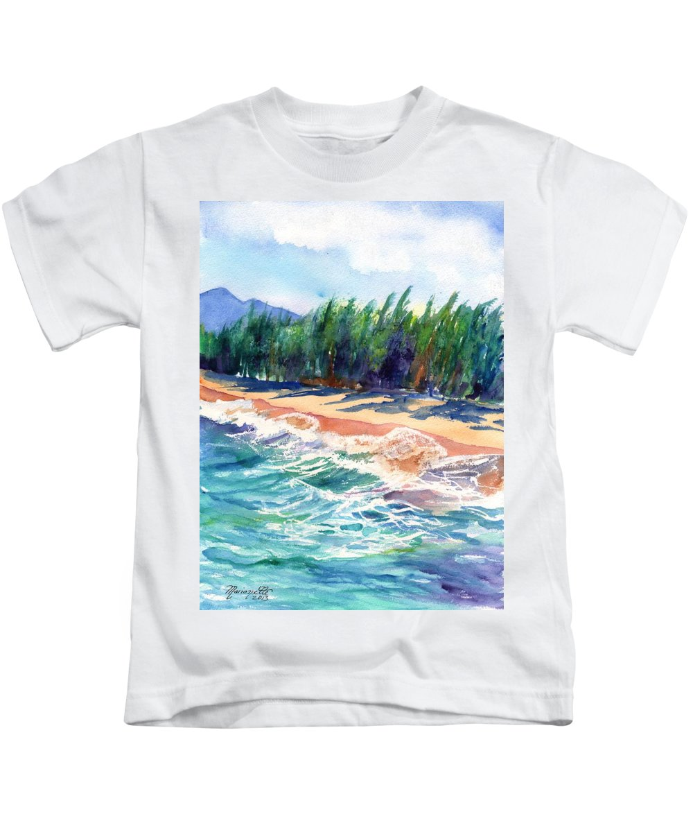 Kauai Ocean Watercolor Kids T-Shirt featuring the painting North Shore Beach 2 by Marionette Taboniar