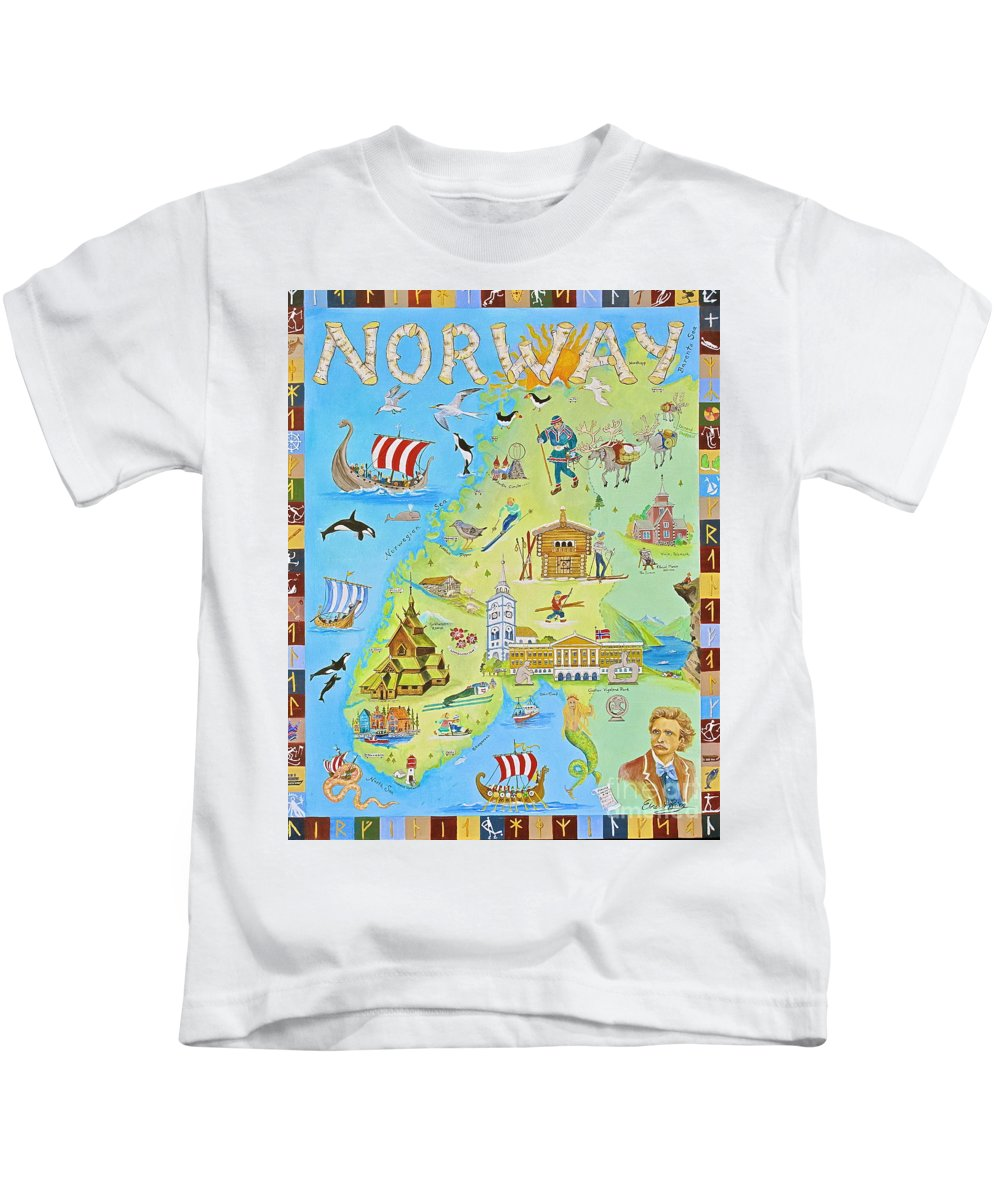 Norway Kids T-Shirt featuring the painting Land Of The Midnight Sun    by Virginia Ann Hemingson