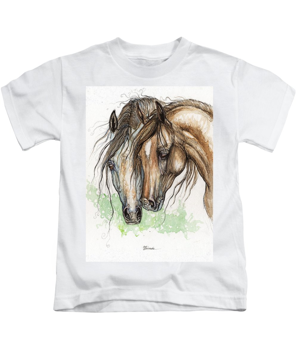 Horse Kids T-Shirt featuring the painting Nose To Nose Watercolor Painting by Angel Ciesniarska