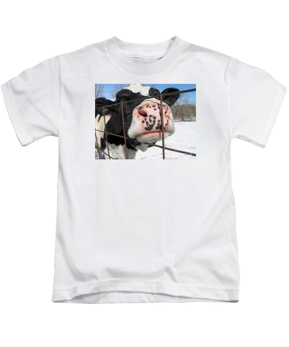 Cow Kids T-Shirt featuring the photograph Nosy by Ann Horn