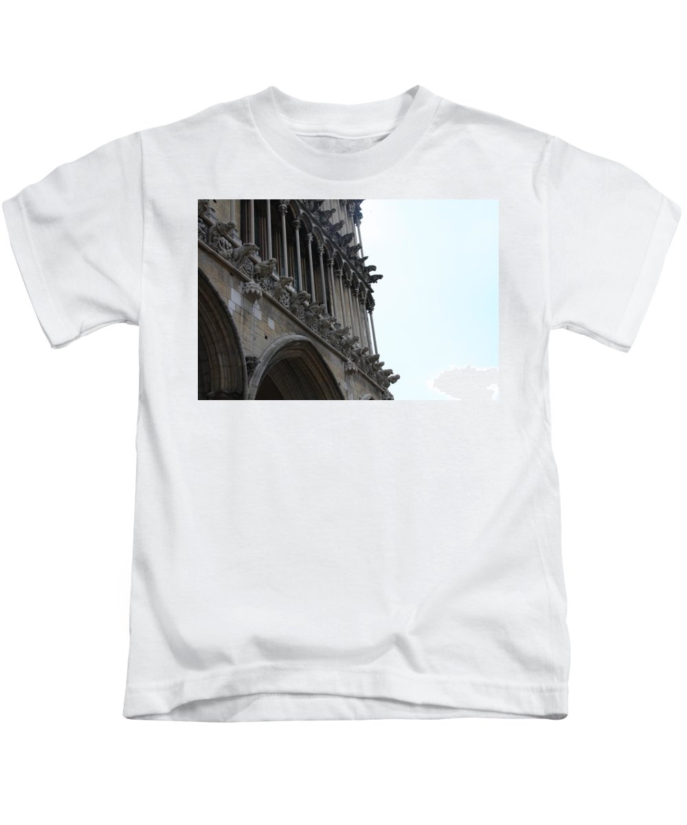 Facade Kids T-Shirt featuring the photograph Notre Dame Gargoyle Row - Dijon by Christiane Schulze Art And Photography