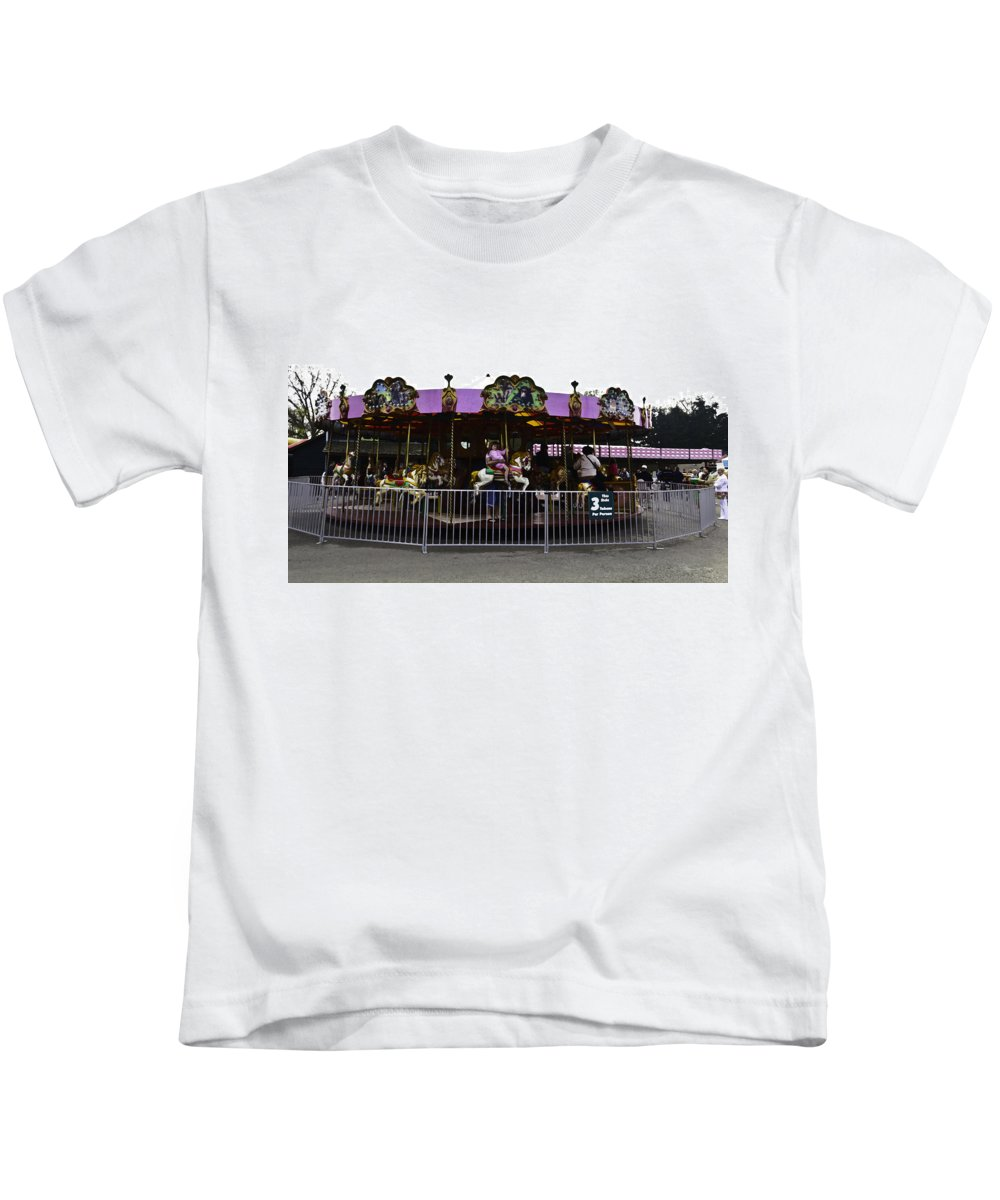 Blair Drummond Safari Park Kids T-Shirt featuring the digital art Oil Painting - Children And Adults At The Merry Go Round Inside The Blair Drumm by Ashish Agarwal