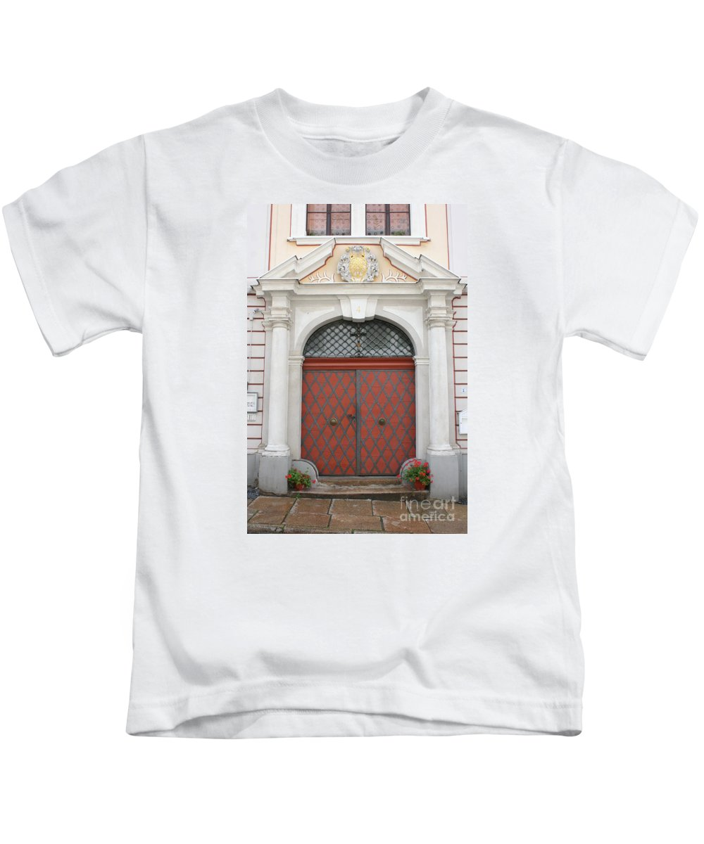 Door Kids T-Shirt featuring the photograph Old Carved Red Door by Christiane Schulze Art And Photography