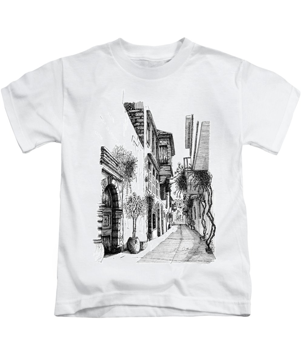 Prespective.arhitekture Kids T-Shirt featuring the drawing Old Town-rethymno by Franko Brkac