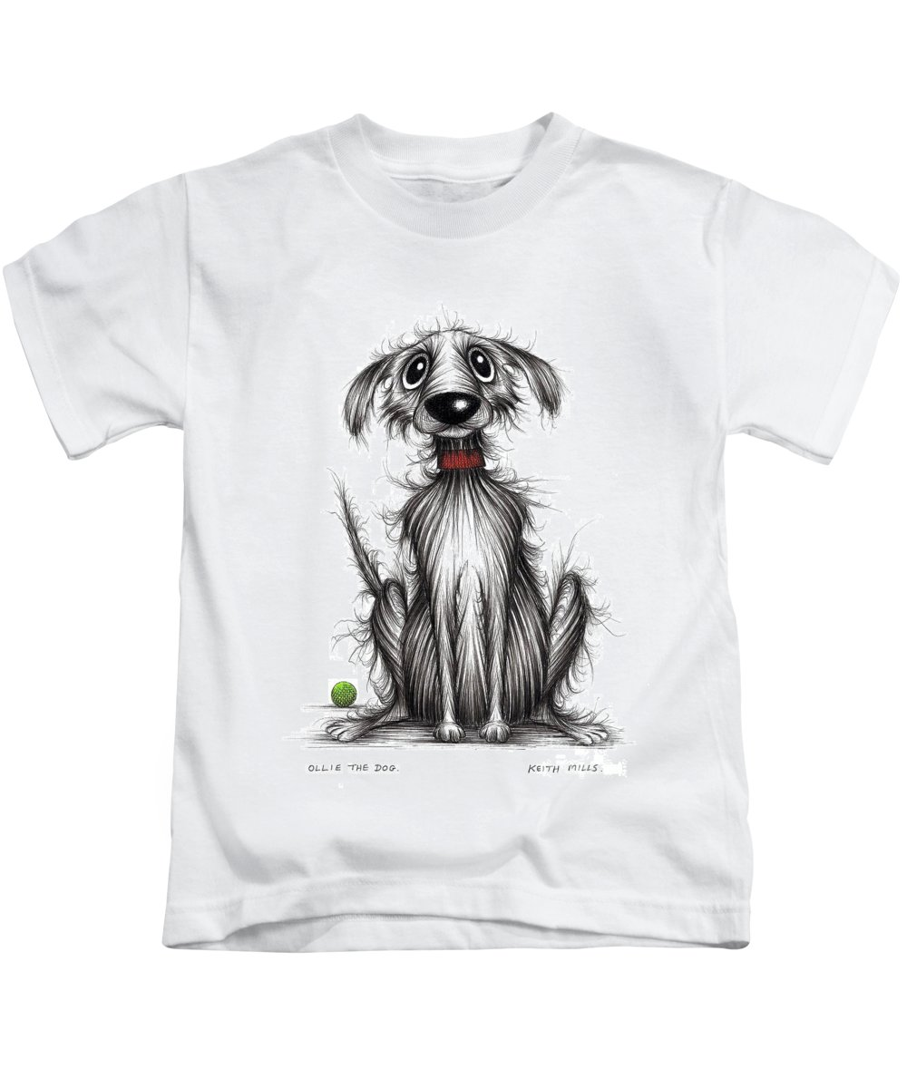 Ollie The Dog Kids T-Shirt featuring the drawing Ollie The Dog by Keith Mills