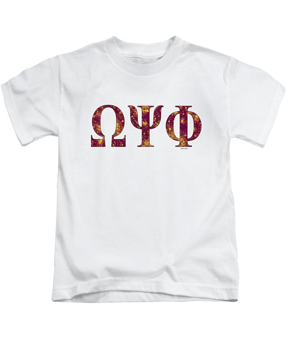 Omega Psi Phi Kids T-Shirt featuring the digital art Omega Psi Phi - White by Stephen Younts