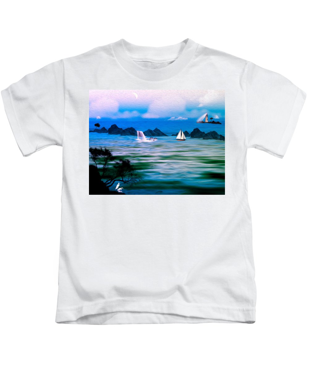 White Heron Kids T-Shirt featuring the digital art On A Lazy Day Series 3 by Teri Schuster