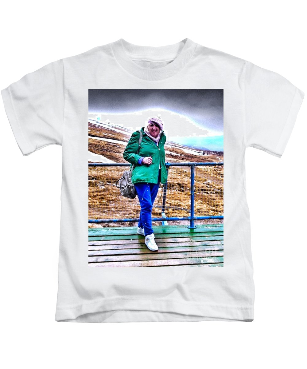 Ben Nevis Kids T-Shirt featuring the photograph On The Summit Of Ben Nevis by Joan-Violet Stretch