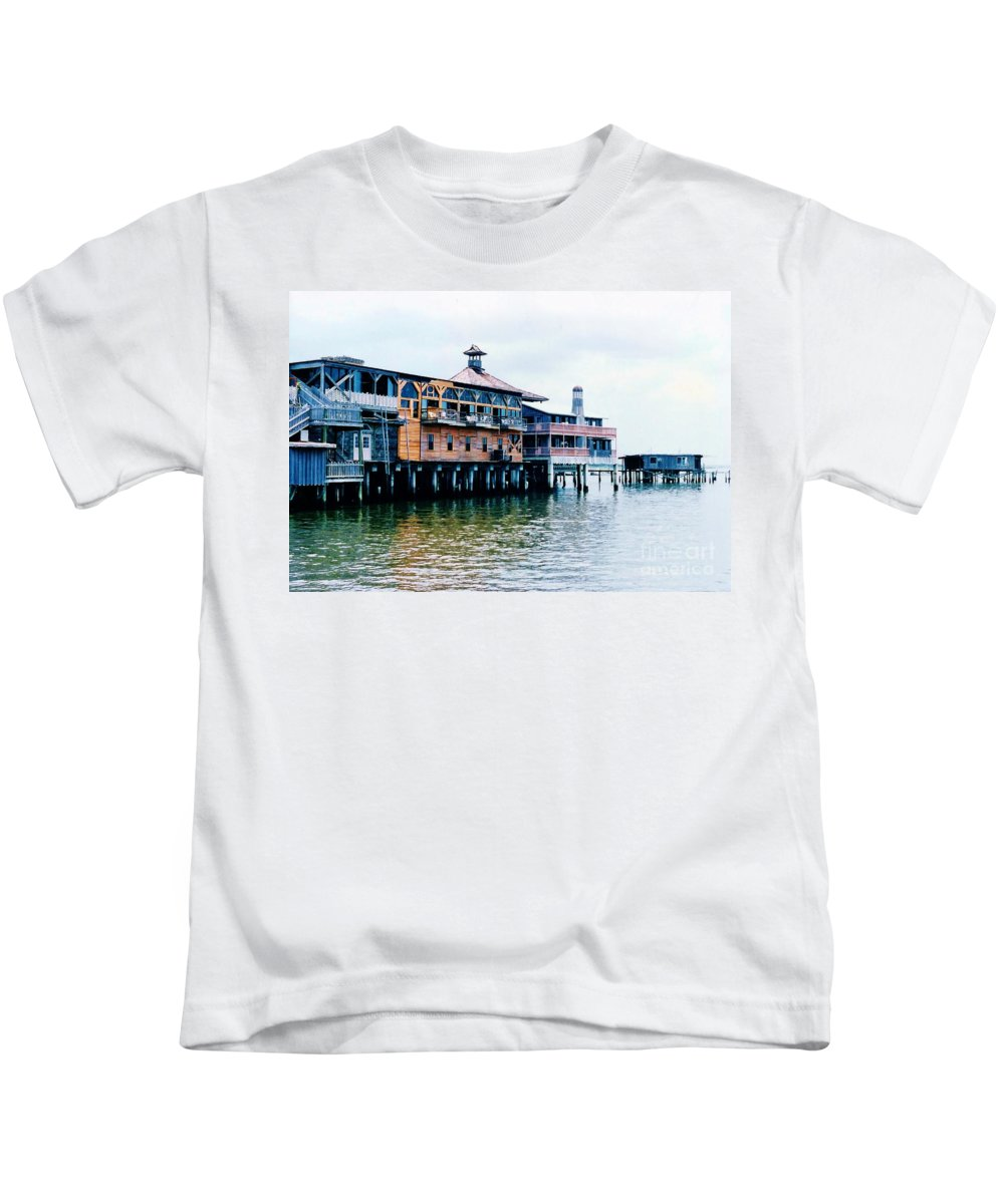 Cedar Key Kids T-Shirt featuring the photograph Buildings On The Water by D Hackett