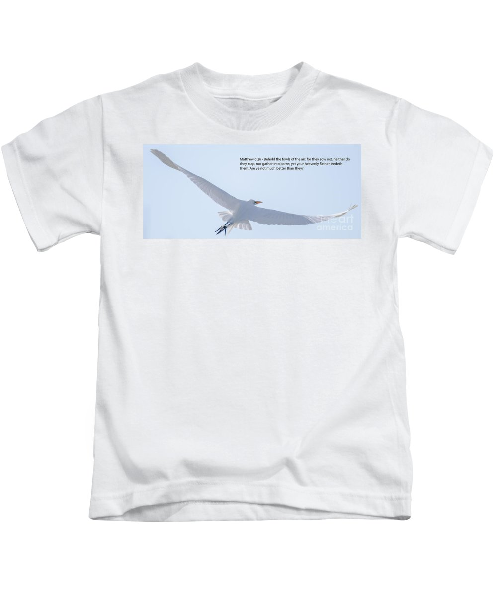 Great White Heron Kids T-Shirt featuring the photograph On The Wings Of Flight by Dale Powell